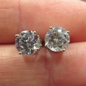 Sterling Bright Circle Cubic Zirconia Earrings